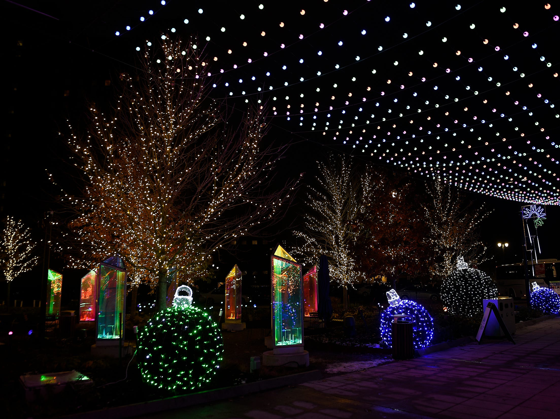 Lighted ornaments are on display in Beacon Park.