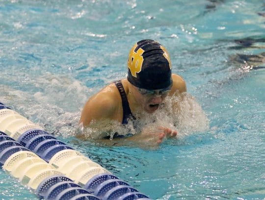 Catherine Craig of Elmira Notre Dame swims to fifth place in the 100-yard breaststroke at the New York State Girls Swimming and Diving Championships on Nov. 17, 2018 at Ithaca College.