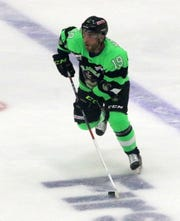 Ahmed Mahfouz is the leading scorer this season for the Elmira Enforcers with 77 points on 27 goals and 50 assists.