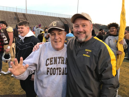Central football coaches Mike Owen and Troy Burgess.