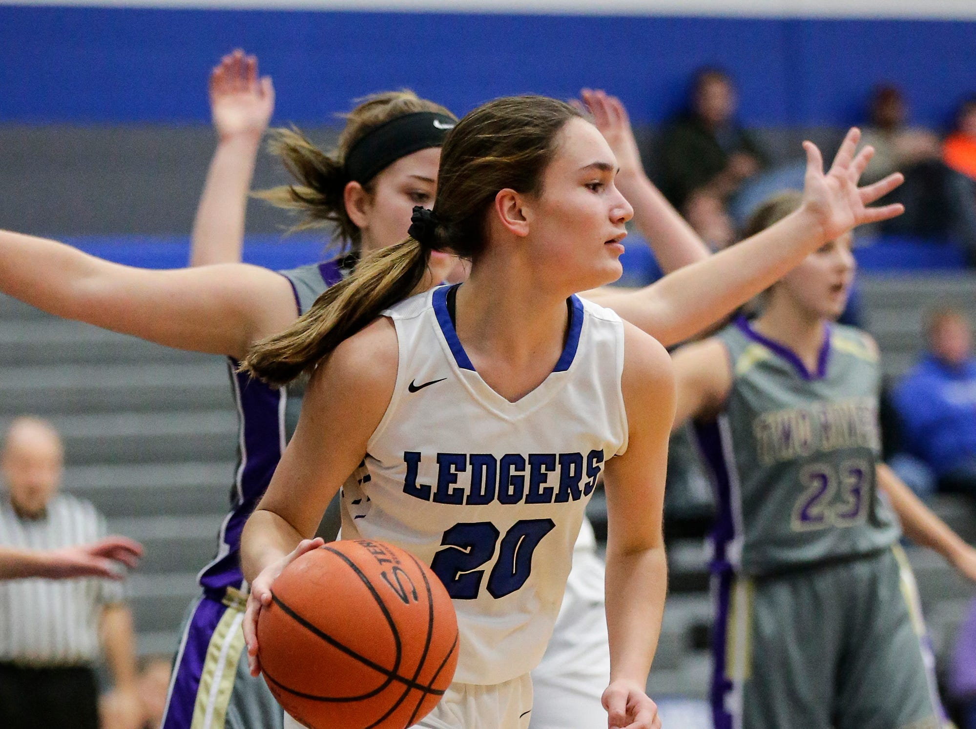 St. Mary's Springs girls basketball's Jenna Gilgenbach dribbles under the net against Two Rivers High School during their game Friday, November 16, 2018 in Fond du Lac. Doug Raflik/USA TODAY NETWORK-Wisconsin