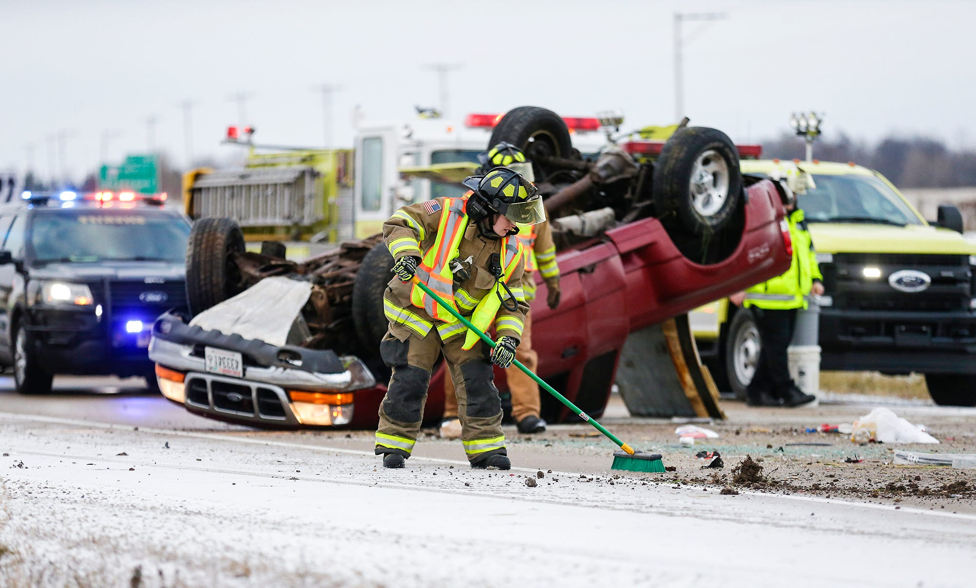 Rollover crash injures driver on 151