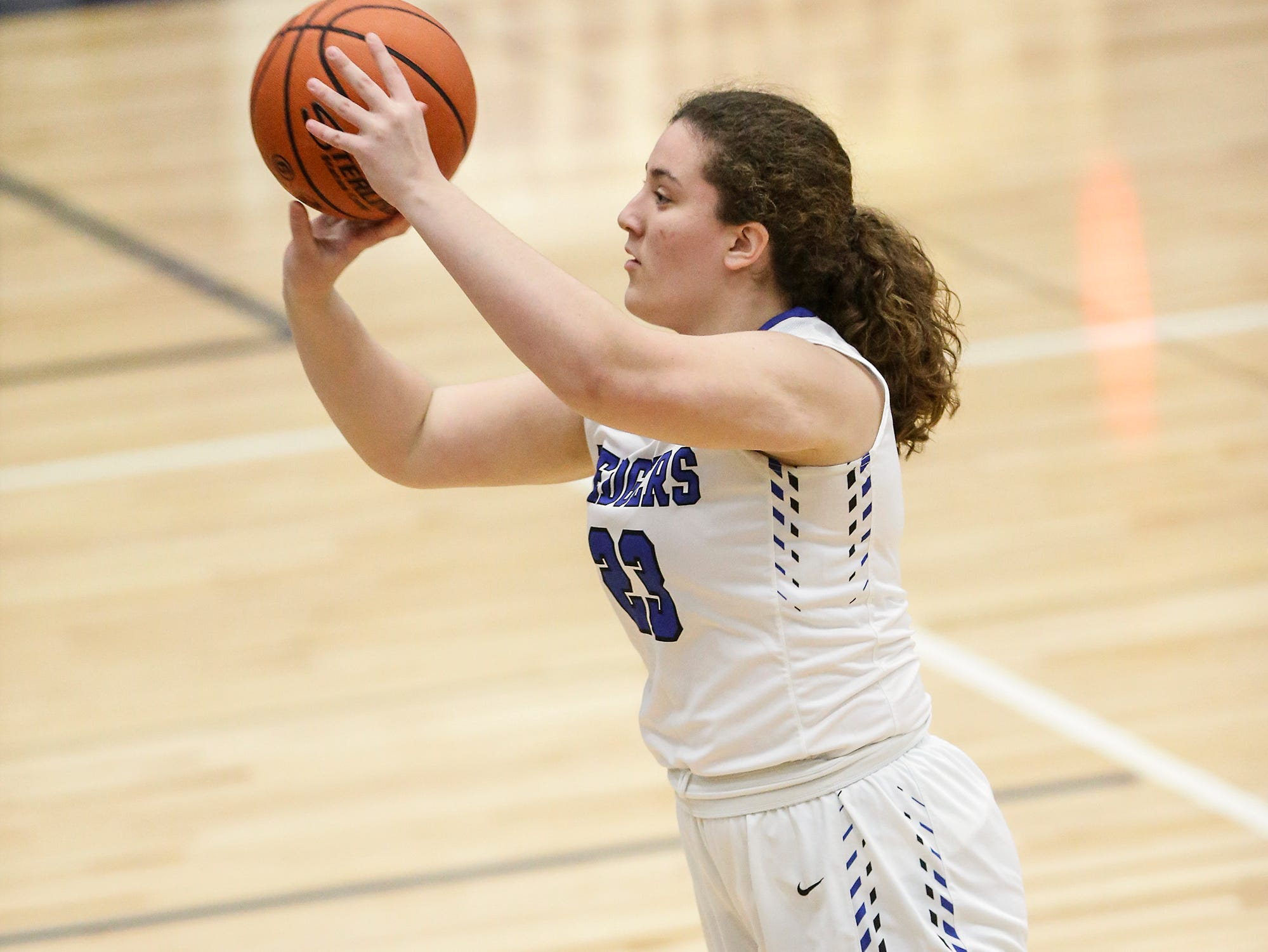 St. Mary's Springs girls basketball's Cecelia Rodriguez attempts a three point shot against Two Rivers High School during their game Friday, November 16, 2018 in Fond du Lac. Doug Raflik/USA TODAY NETWORK-Wisconsin