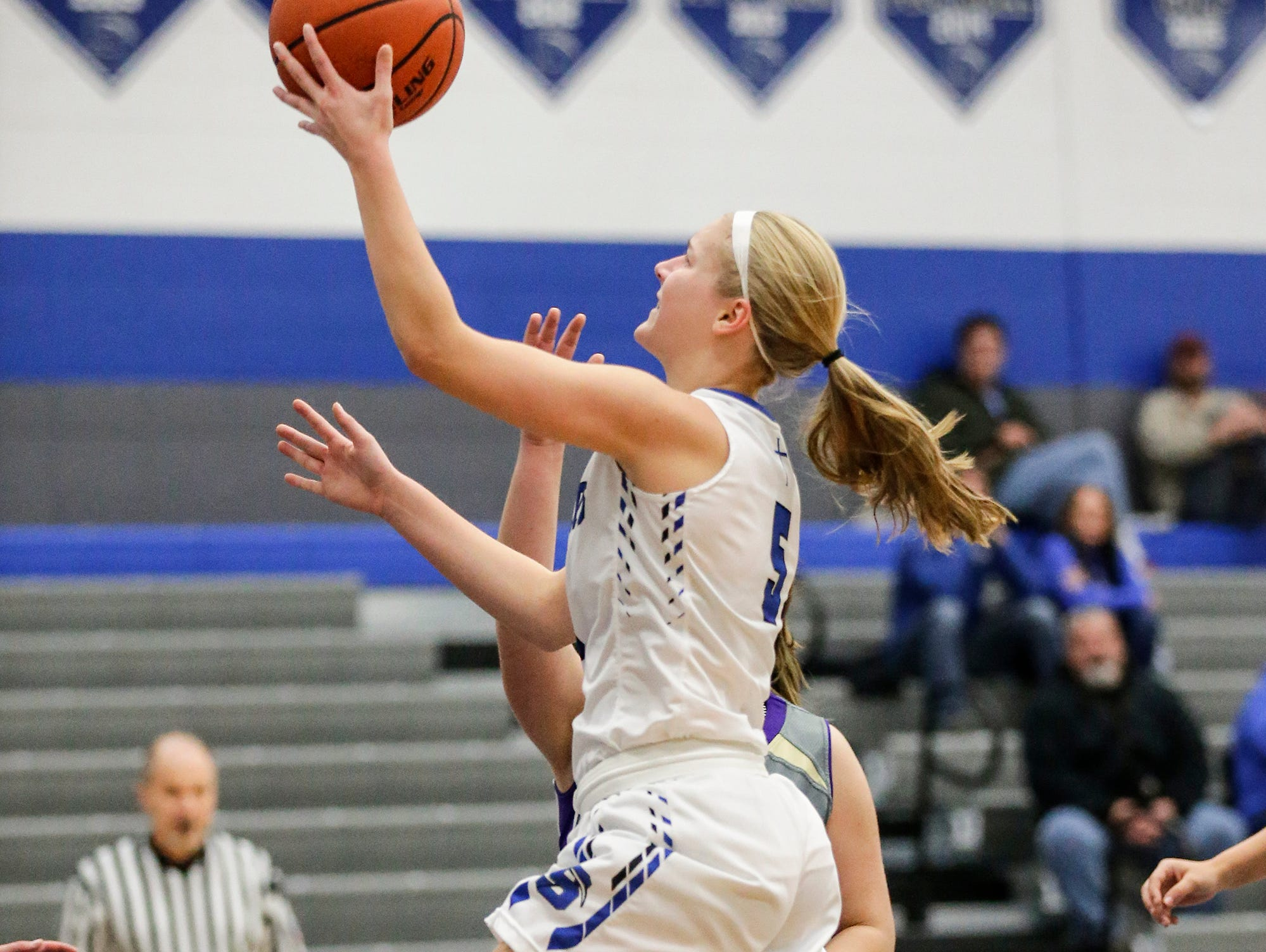 St. Mary's Springs girls basketball's Gracie Rieder goes up for a basket against Two Rivers High School during their game Friday, November 16, 2018 in Fond du Lac. Doug Raflik/USA TODAY NETWORK-Wisconsin
