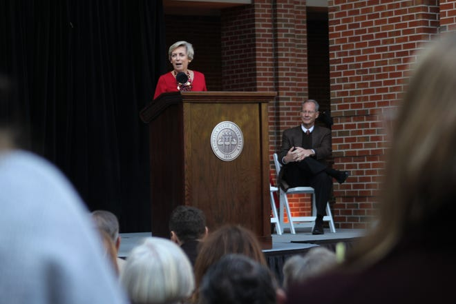 FSU honors Mary Coburn,  former vice president for student affairs, by dedicating the Health and Wellness Center that bears her name at a ceremony.
