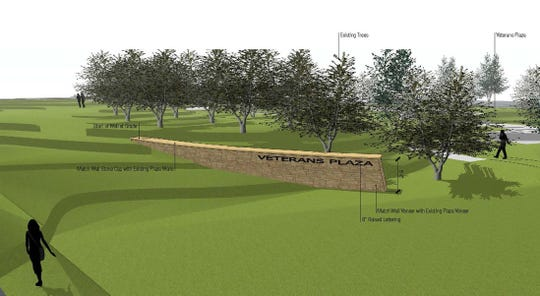 Proposed retaining wall for Veterans Plaza of Northern Colorado.