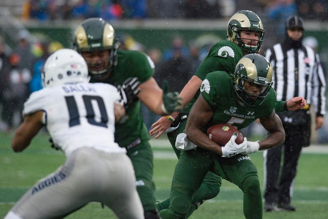 Running back Marvin Kinsey, shown running against Utah State on Saturday at Canvas Stadium, and the CSU football team will close out the season with a 1:30 p.m. game Thursday at Air Force. CBS-Sports Network is televising the game nationally.