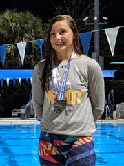 Hannah VanDress of Bishop Verot took seventh in the 500 freestyle at the Class A state swim championships.