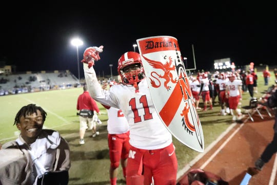 Shomari Mason celebrates an interception during North Fort Myers' 36-20 win over Charlotte in last year's Class 6A regional semifinals.