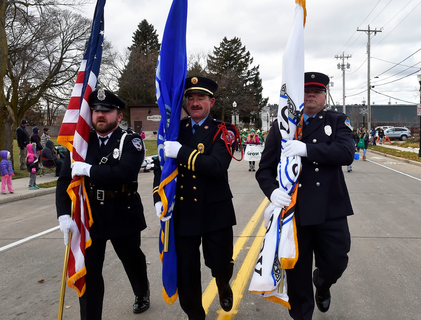 Color guard at the Christmas By The Bay parade on Saturday, Nov. 17, 2018, in Sturgeon Bay. Tina M. Gohr/USA TODAY NETWORK-Wisconsin