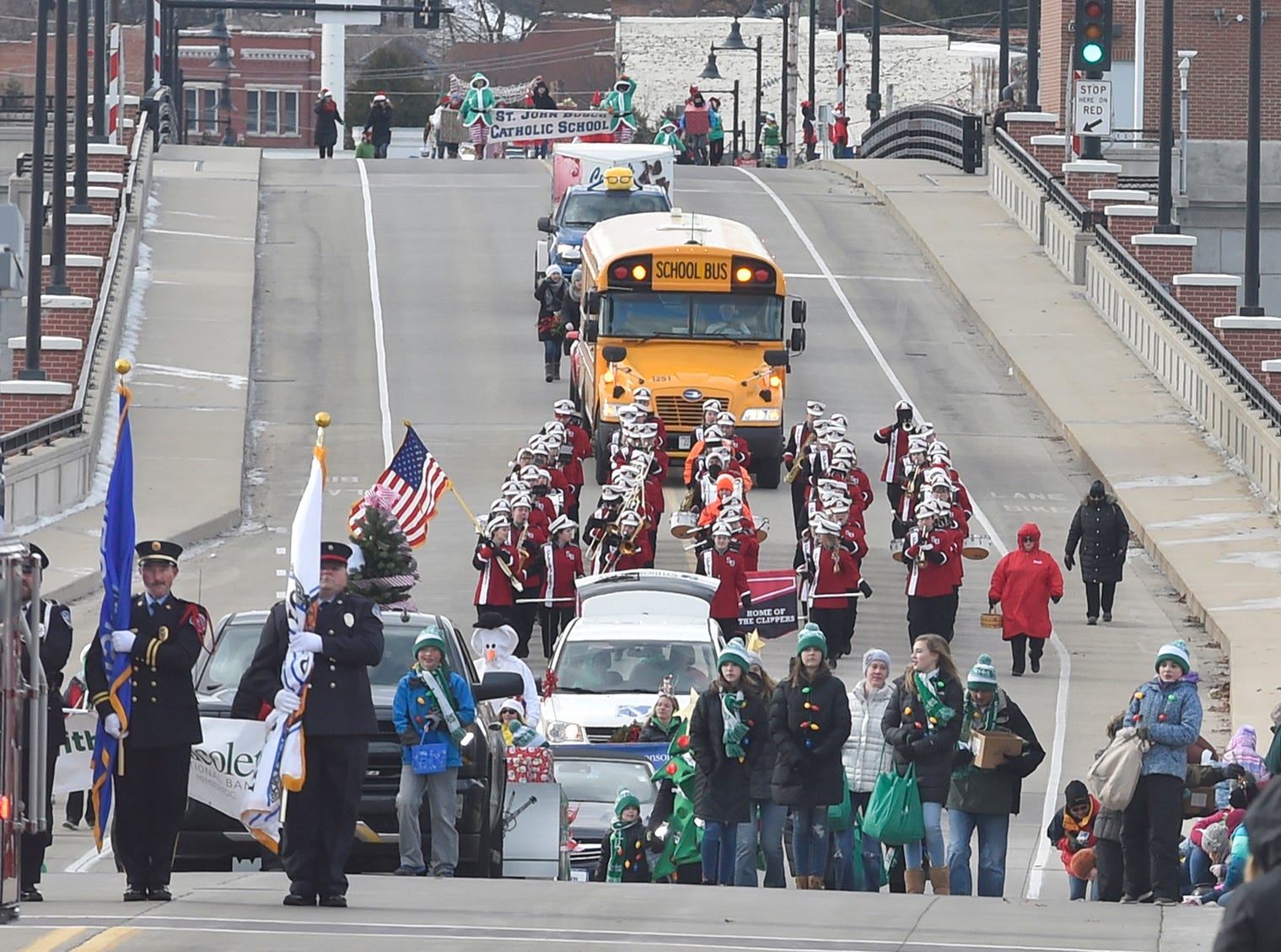 Sturgeon Bay's Christmas Parade travels across the Maple-Oregon Street Bridge on Saturday, Nov. 17, 2018. Hosted by the Sturgeon Bay Visitor Center, the holiday parade was part of the city's Christmas by the Bay celebration Nov. 16-18 which kicked off with the lighting of the city Christmas Tree on Friday night. To see more photos of the parade, visit: www.doorcountyadvocate.com. Tina M. Gohr/USA TODAY NETWORK-Wisconsin