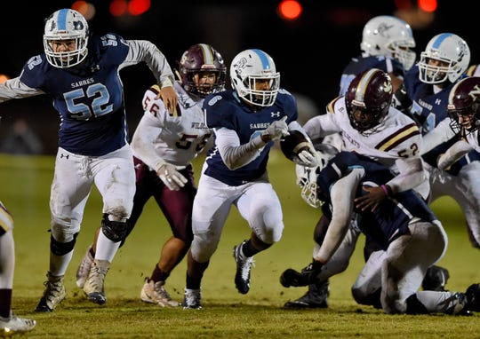 Anthony McFadden (6) rushed for 81 yards with a touchdown in Southside Christian's victory against Ninety Six in the Class AA playoffs on Friday, Nov. 16, 2018.