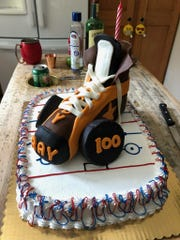 The birthday cake of Ray B. Brady, who turned 100 a few weeks ago, was decorated like an ice skate.