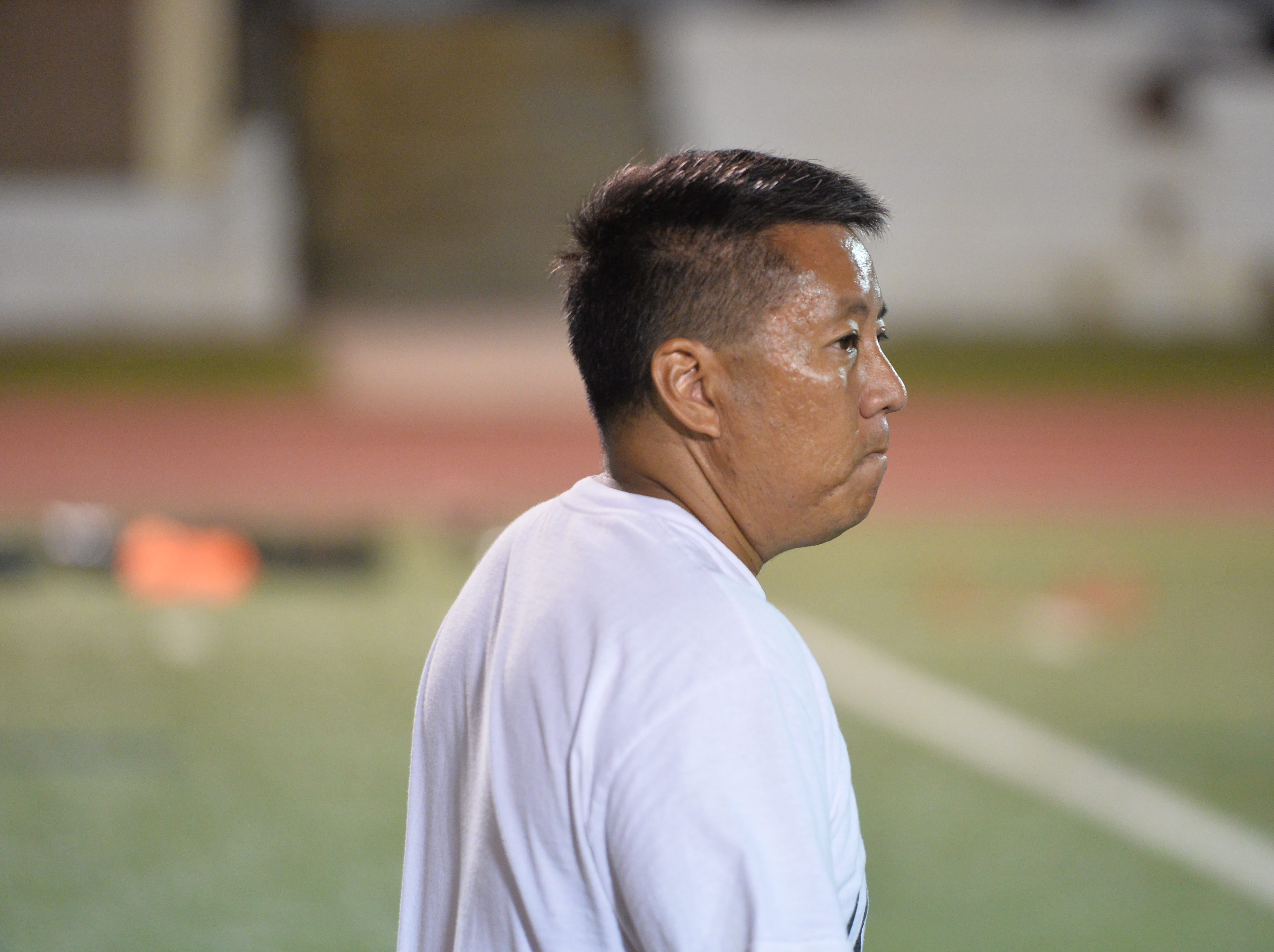 Strenth and conditioning coach Chad Ikei, one of the volunteer coaches of the 2nd Guam Football College Showcase and Combine, was once an international weightlifting champion for Team USA.