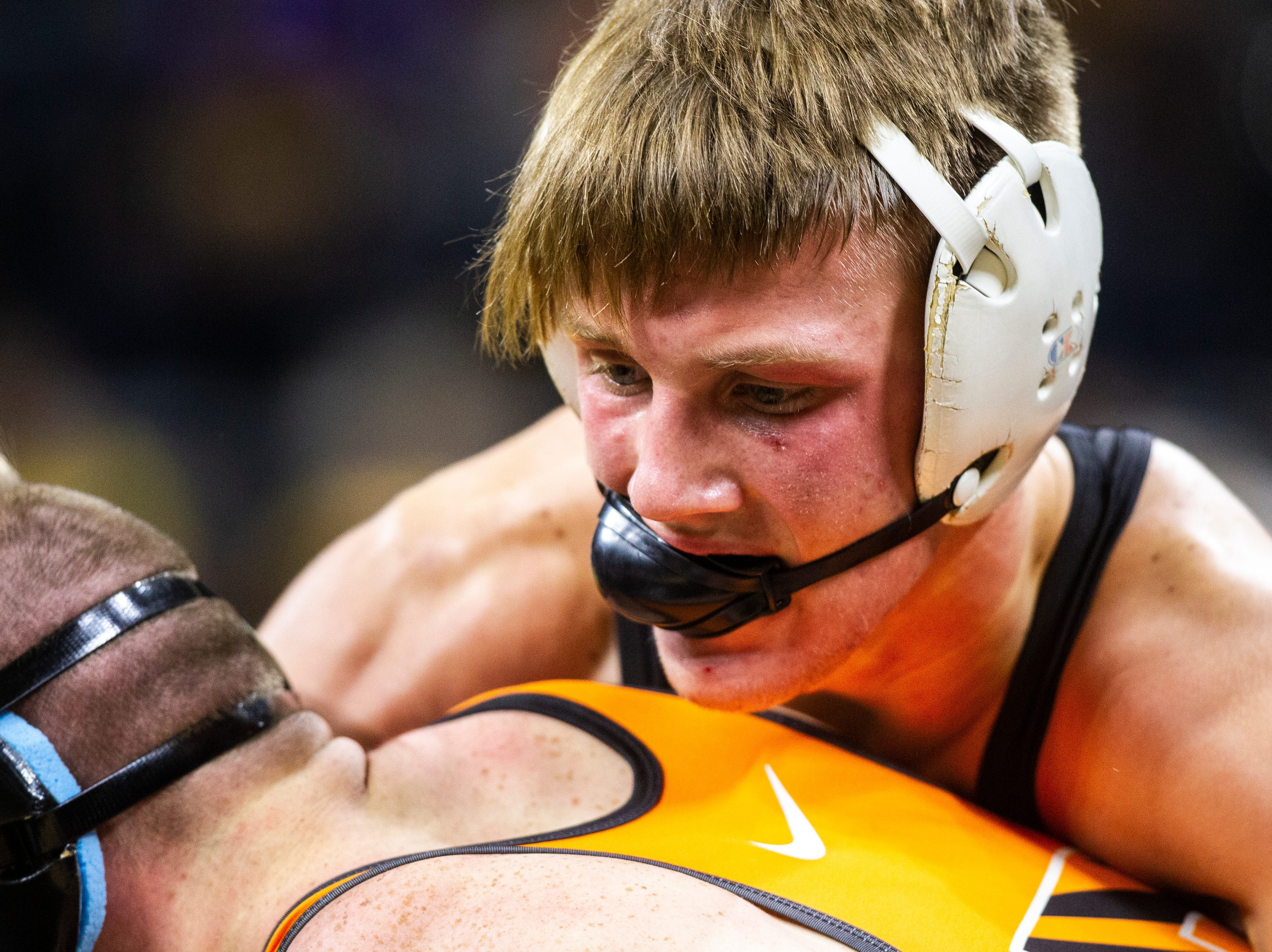 Iowa's Max Murin (right) wrestles Princeton's Marshall Keller at 141 during an NCAA wrestling dual on Friday, Nov. 16, 2018, at Carver-Hawkeye Arena in Iowa City.