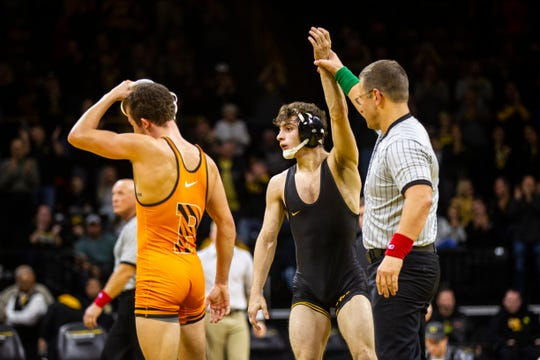 Iowa's Austin DeSanto is ranked No. 8 nationally at 133 pounds. He is expected to wrestle third-ranked Nick Suriano when the Hawkeyes host Rutgers on Friday night.