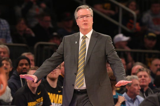 Nov 16, 2018; New York, NY, USA; Iowa Hawkeyes head coach Fran McCaffery reacts during the first half against the Connecticut Huskies at Madison Square Garden. Mandatory Credit: Brad Penner-USA TODAY Sports