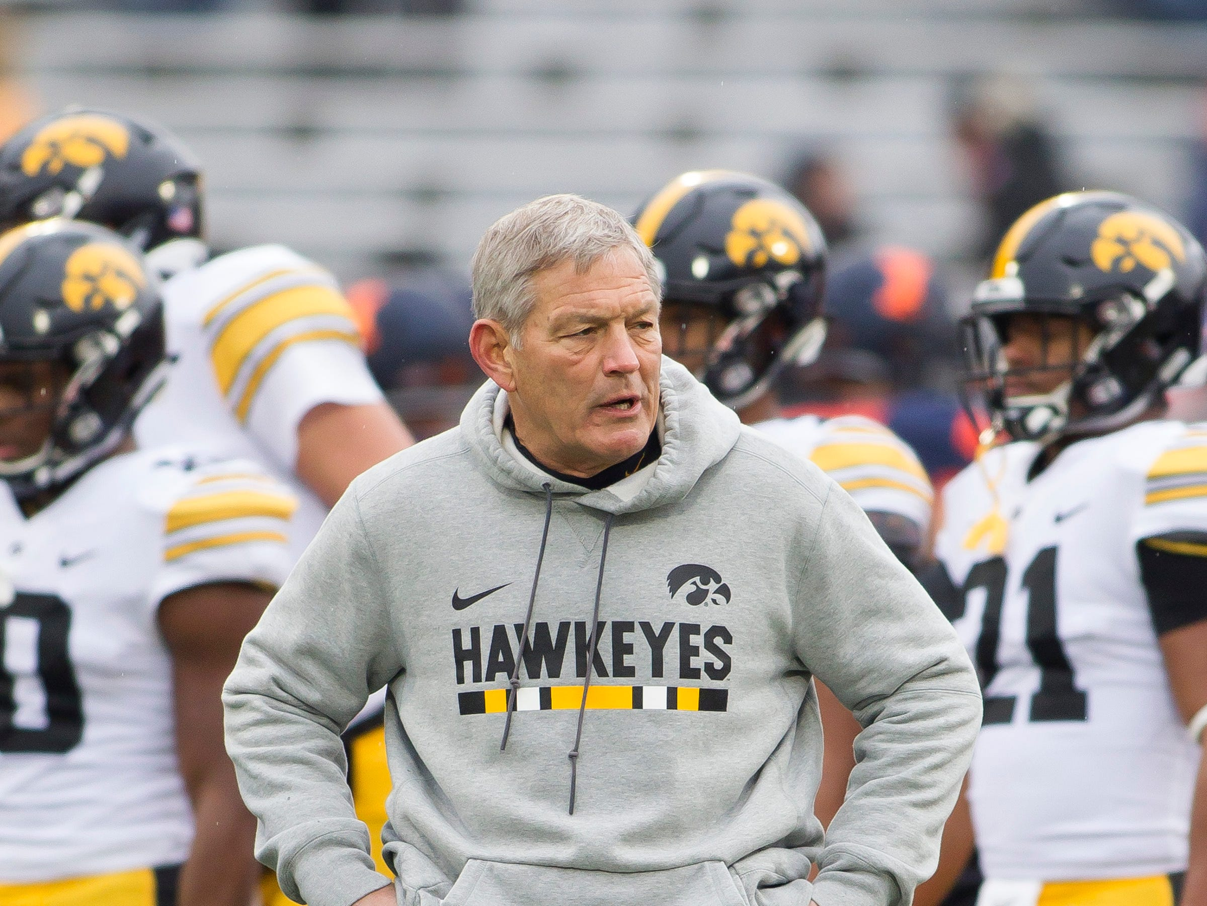 Nov 17, 2018; Champaign, IL, USA; Iowa Hawkeyes head coach Kirk Ferentz before the start of the first quarter against the Illinois Fighting Illini at Memorial Stadium.