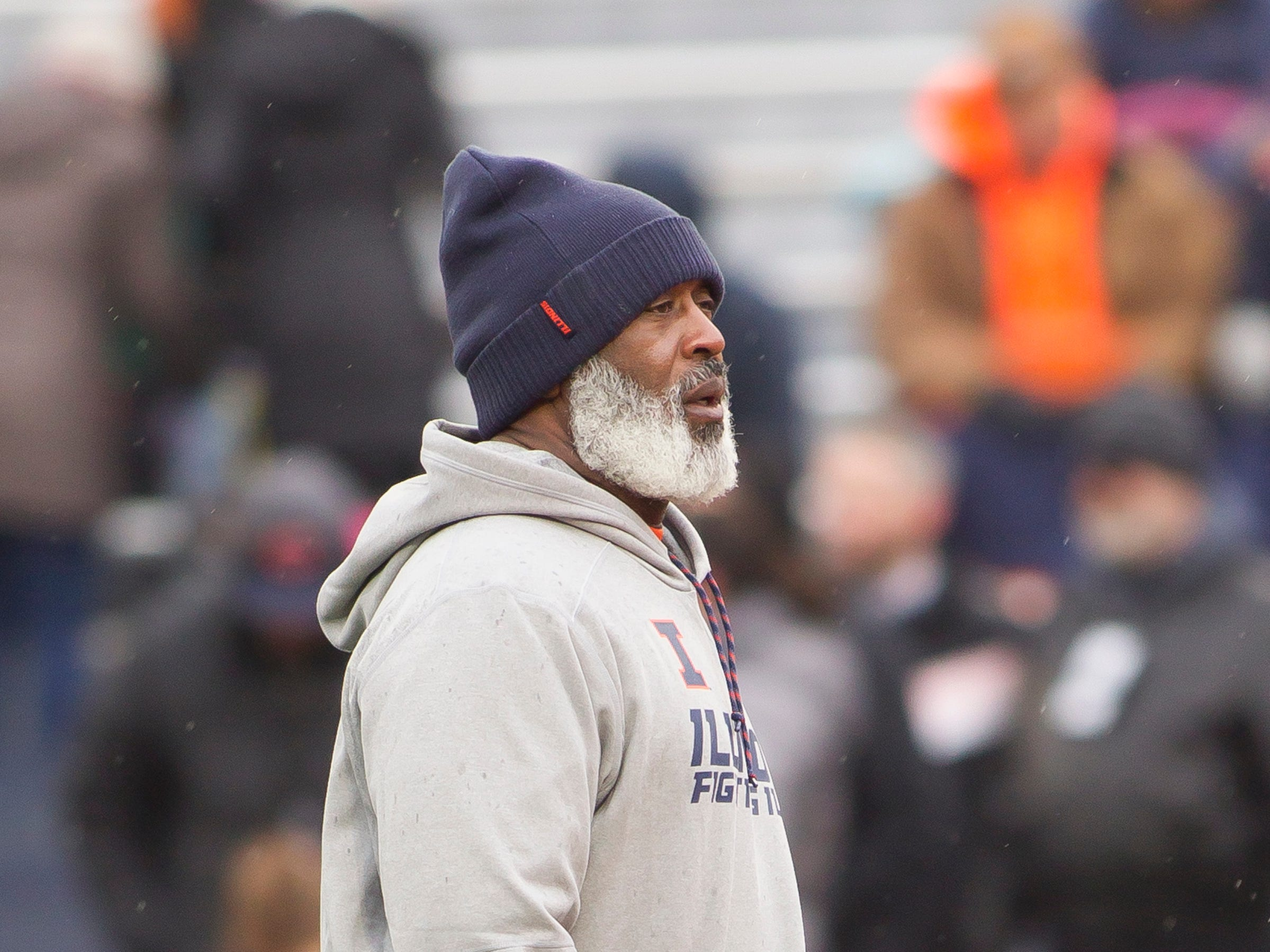 Nov 17, 2018; Champaign, IL, USA; Illinois Fighting Illini head coach Lovie Smith before the start of the first quarter against the Iowa Hawkeyes at Memorial Stadium.