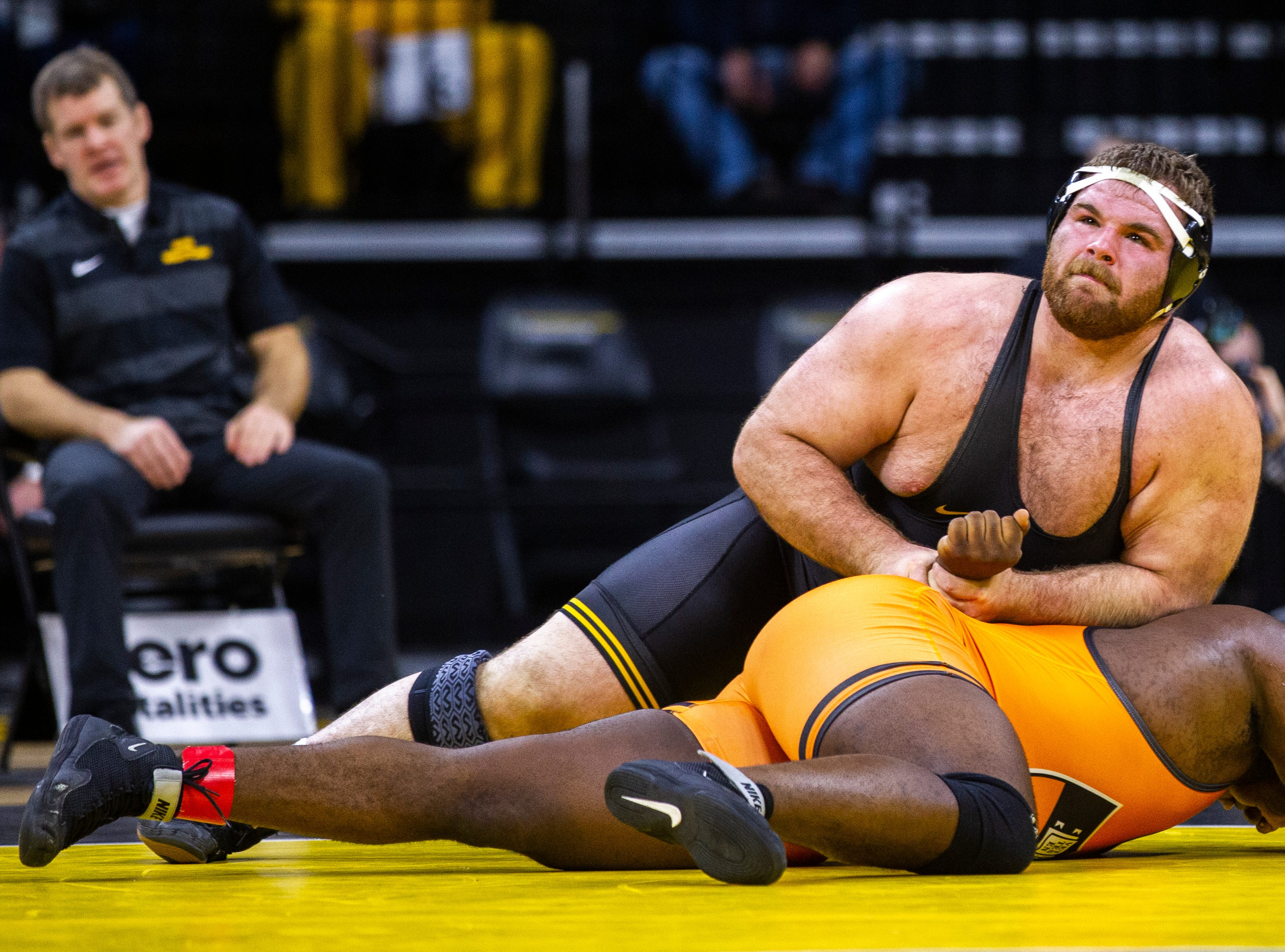 Iowa's Aaron Costello wrestles Princeton's Obinna Ajah at 285 during an NCAA wrestle dual on Friday, Nov. 16, 2018, at Carver-Hawkeye Arena in Iowa City.
