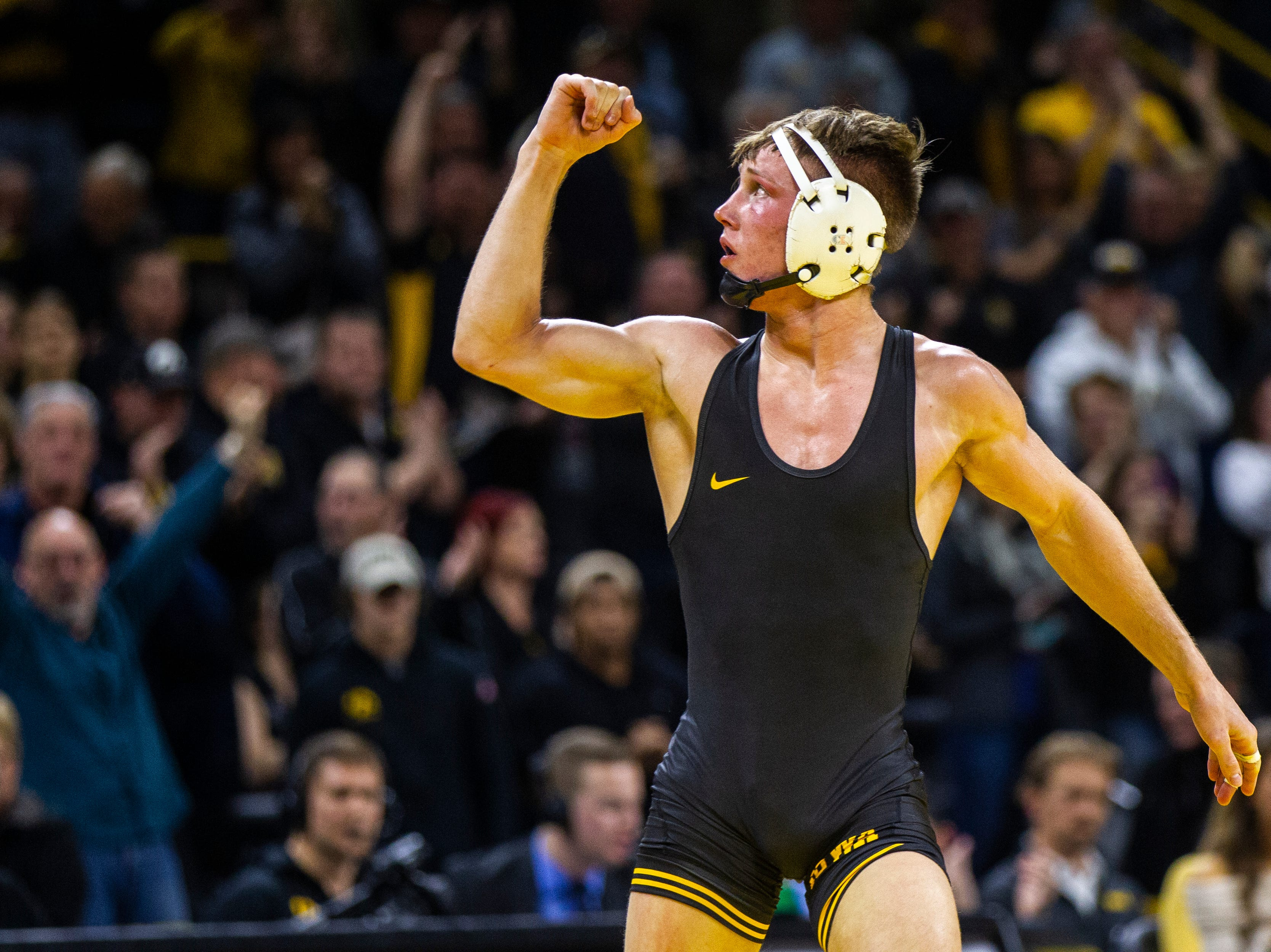 Iowa's Max Murin celebrates after pinning Princeton's Marshall Keller at 141 during an NCAA wrestle dual on Friday, Nov. 16, 2018, at Carver-Hawkeye Arena in Iowa City.