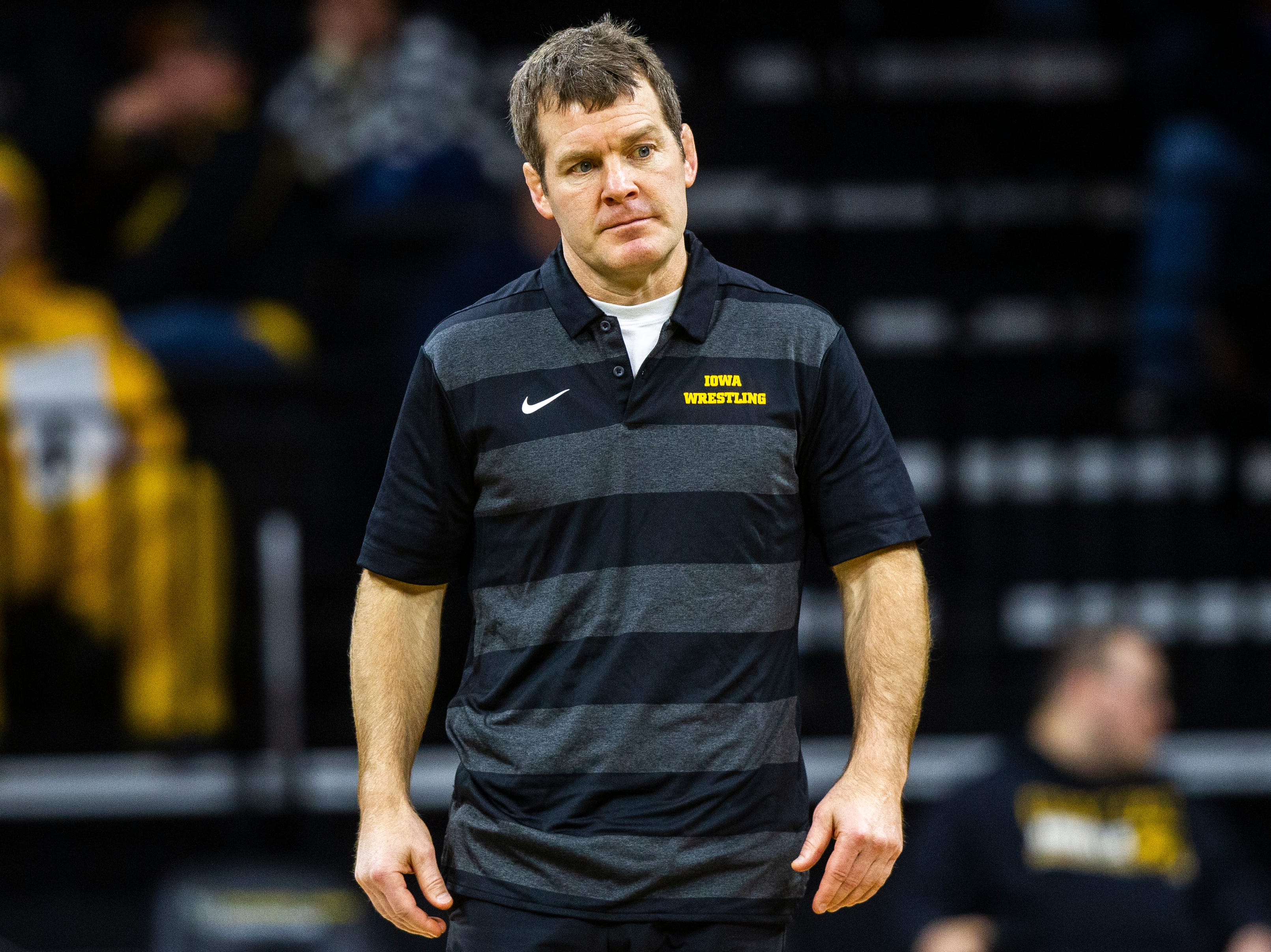 Iowa head coach Tom Brands looks on during an NCAA wrestle dual on Friday, Nov. 16, 2018, at Carver-Hawkeye Arena in Iowa City.