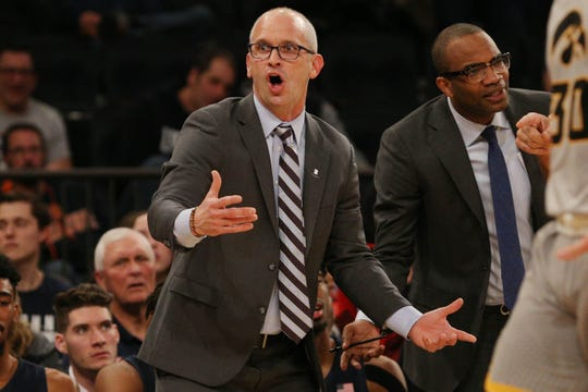 Nov 16, 2018; New York, NY, USA; Connecticut Huskies head coach Dan Hurley reacts as he coaches against the Iowa Hawkeyes during the first half at Madison Square Garden. Mandatory Credit: Brad Penner-USA TODAY Sports