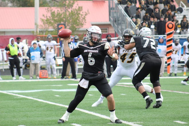 Jake Purichia threw two touchdowns and ran for two more in UIndy's win over Fort Hays State on Saturday.