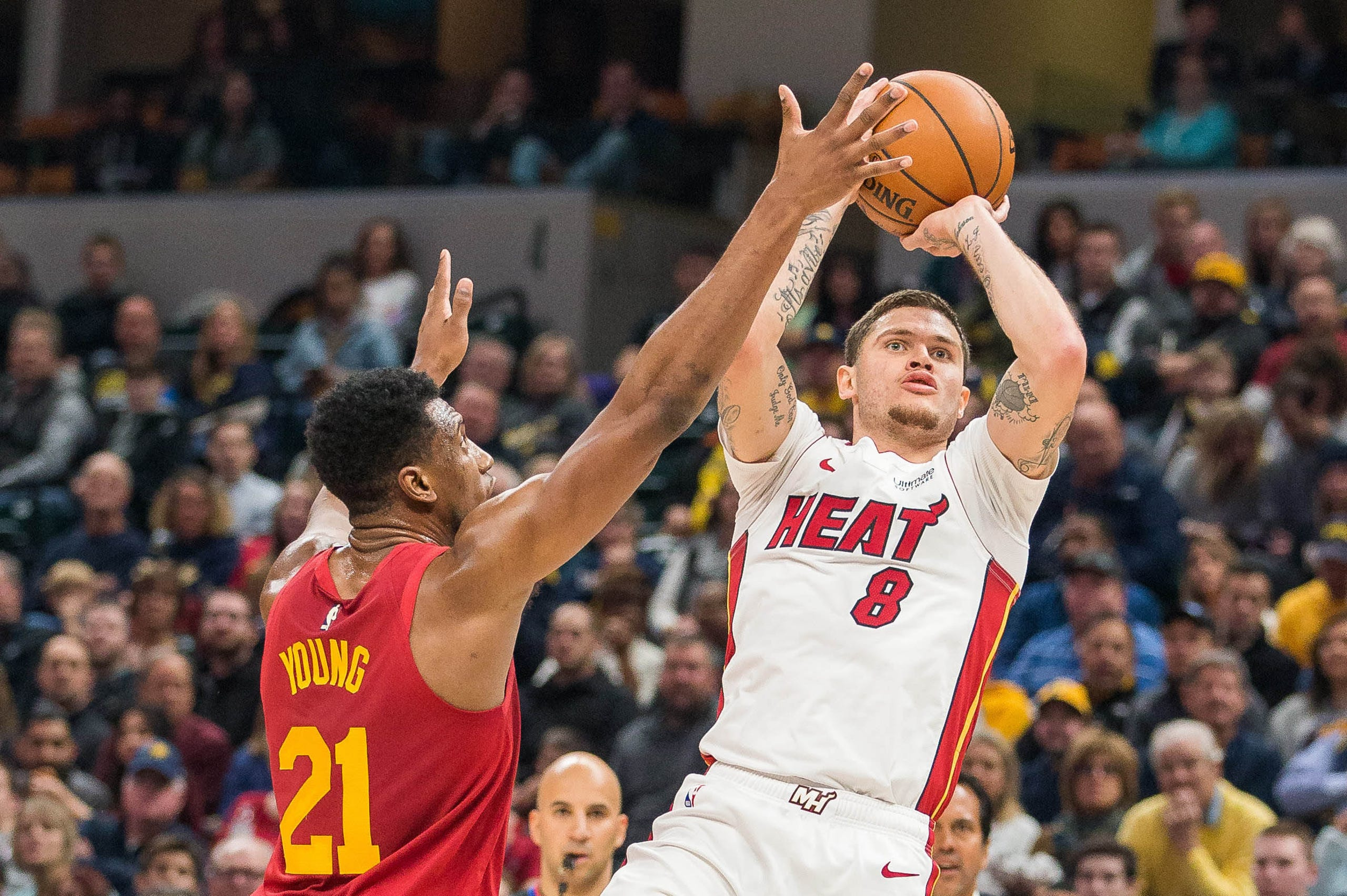 ec6020f35cc Miami Heat guard Tyler Johnson (8) shoots the ball while Indiana Pacers  forward Thaddeus