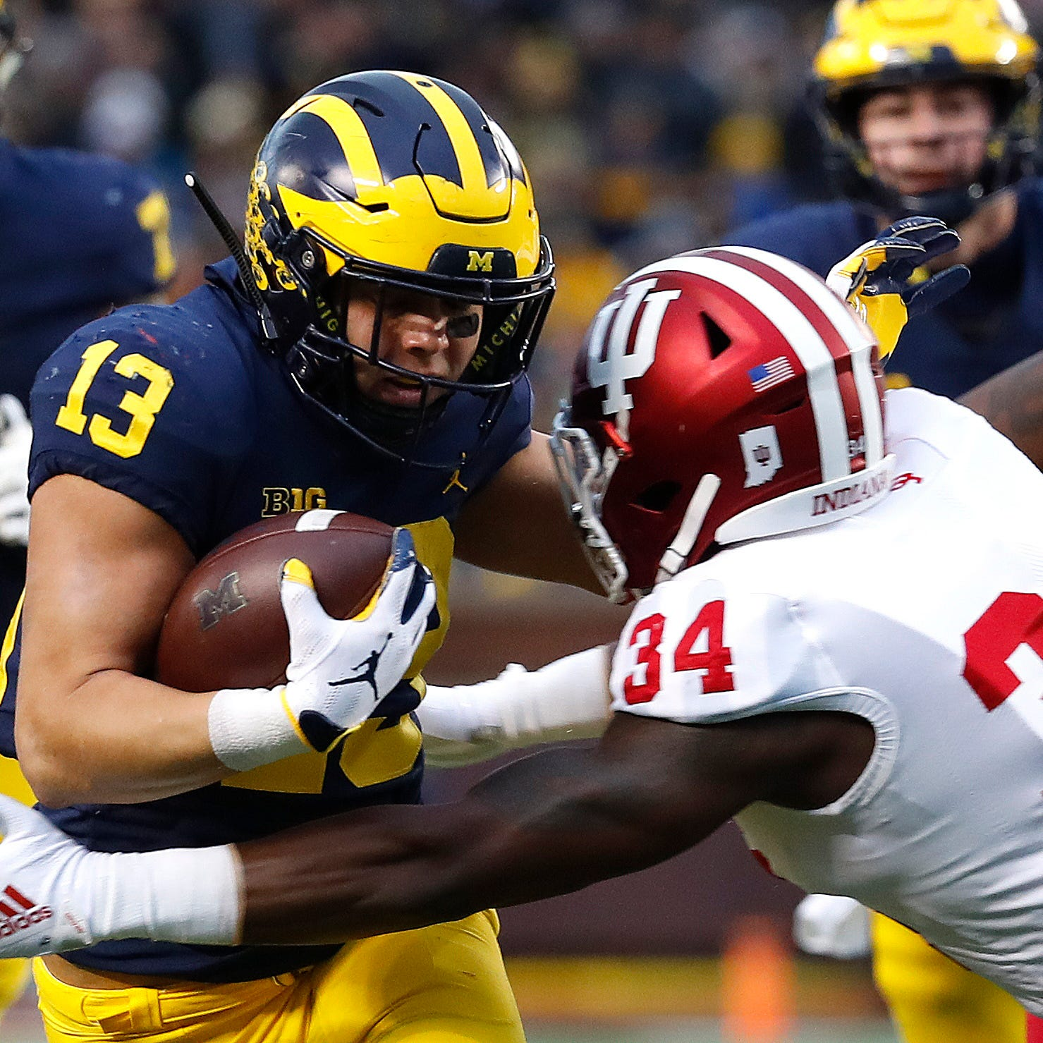 IU football's Cam Jones ejected for targeting after hit on Michigan's Berkley Edwards
