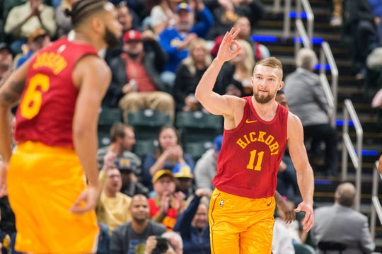 Indiana Pacers forward Domantas Sabonis (11) celebrates a made three point basket in the second quarter against the Miami Heat at Bankers Life Fieldhouse.