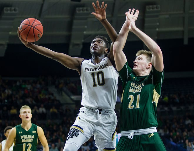 Notre Dame's TJ Gibbs (10) drives against William & Mary's Quinn Blair (21) during an NCAA college basketball game Saturday, Nov. 17, 2018 at Purcell Pavilion in South Bend.