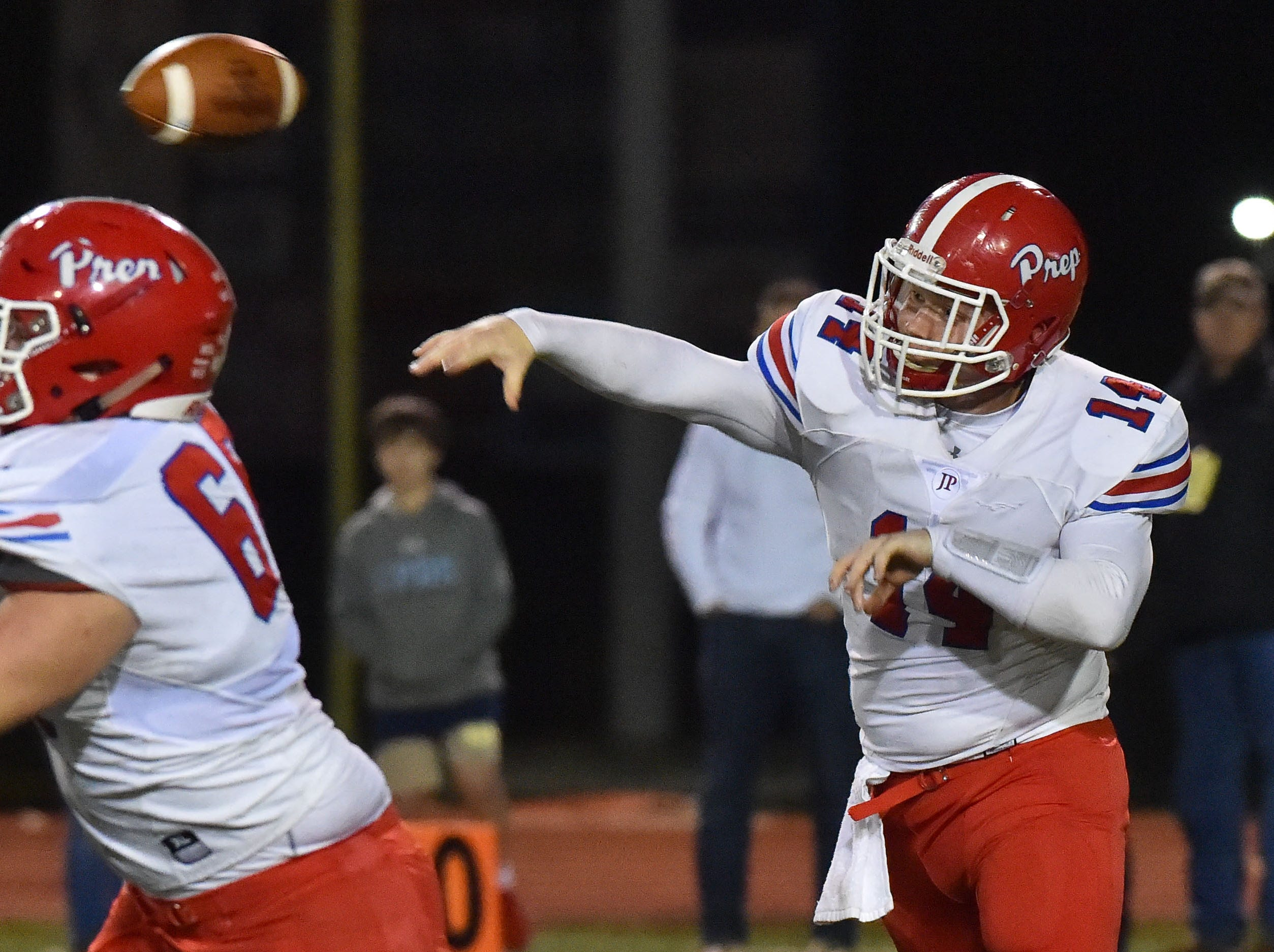 Jackson Prep Qaurterback Alex Gibbs (14) throws a pass during the MAIS Class AAAA Championship Football game held at Jackson Academy in Jackson, MS, Thursday November 16, 2018.(Bob Smith-For The Clarion Ledger)