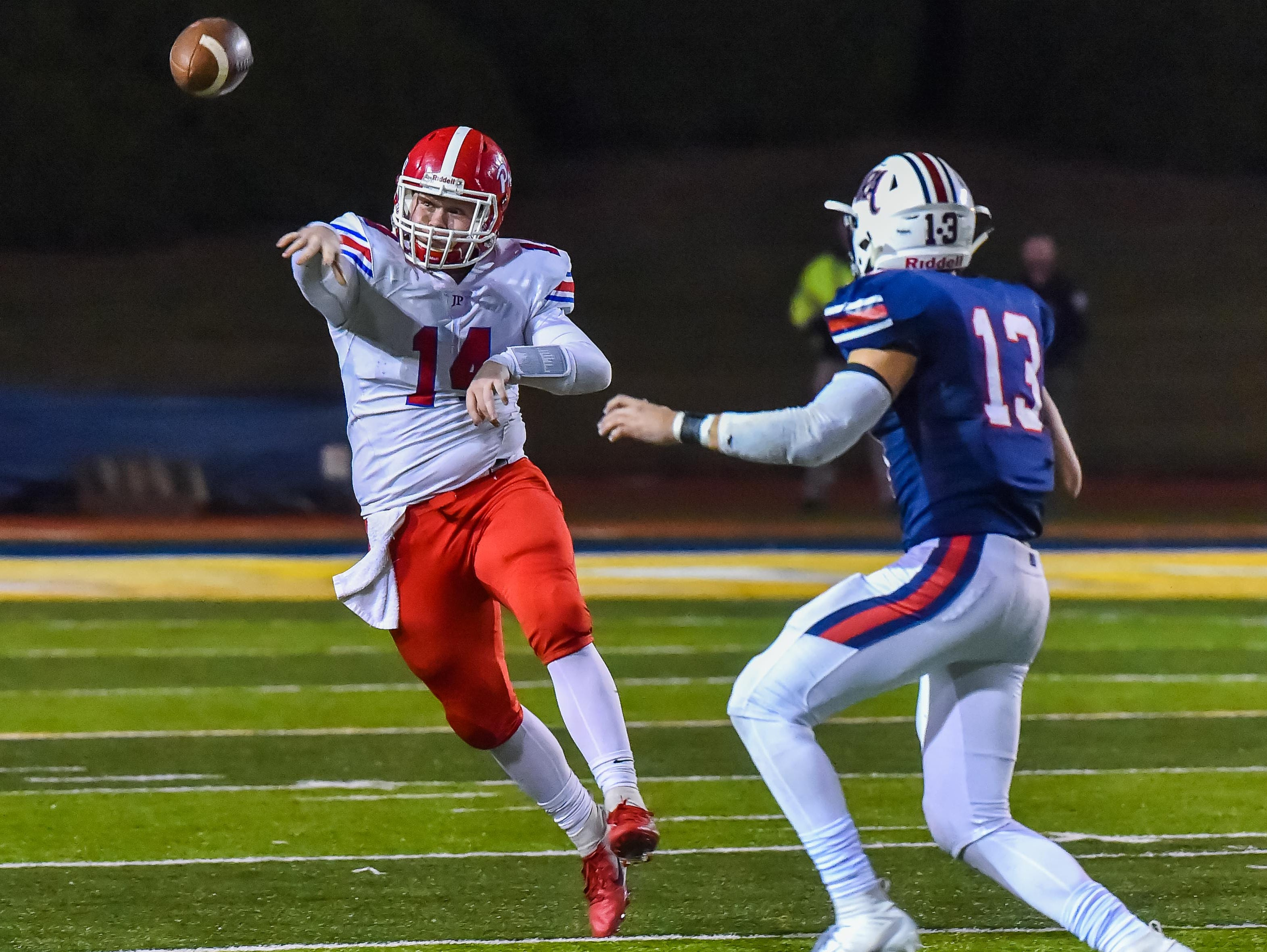 Jackson Prep quarterback Alex Gibbs (14) throws a pass during the MAIS Class AAAA Championship Football game held at Jackson Academy in Jackson, MS, Thursday November 16, 2018.(Bob Smith-For The Clarion Ledger)