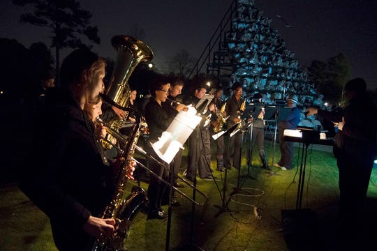 Traditional carols  and Christmas staples such as Rudolph the red-noded reindeer are performed at Belhaven University's singing Christmas tree.