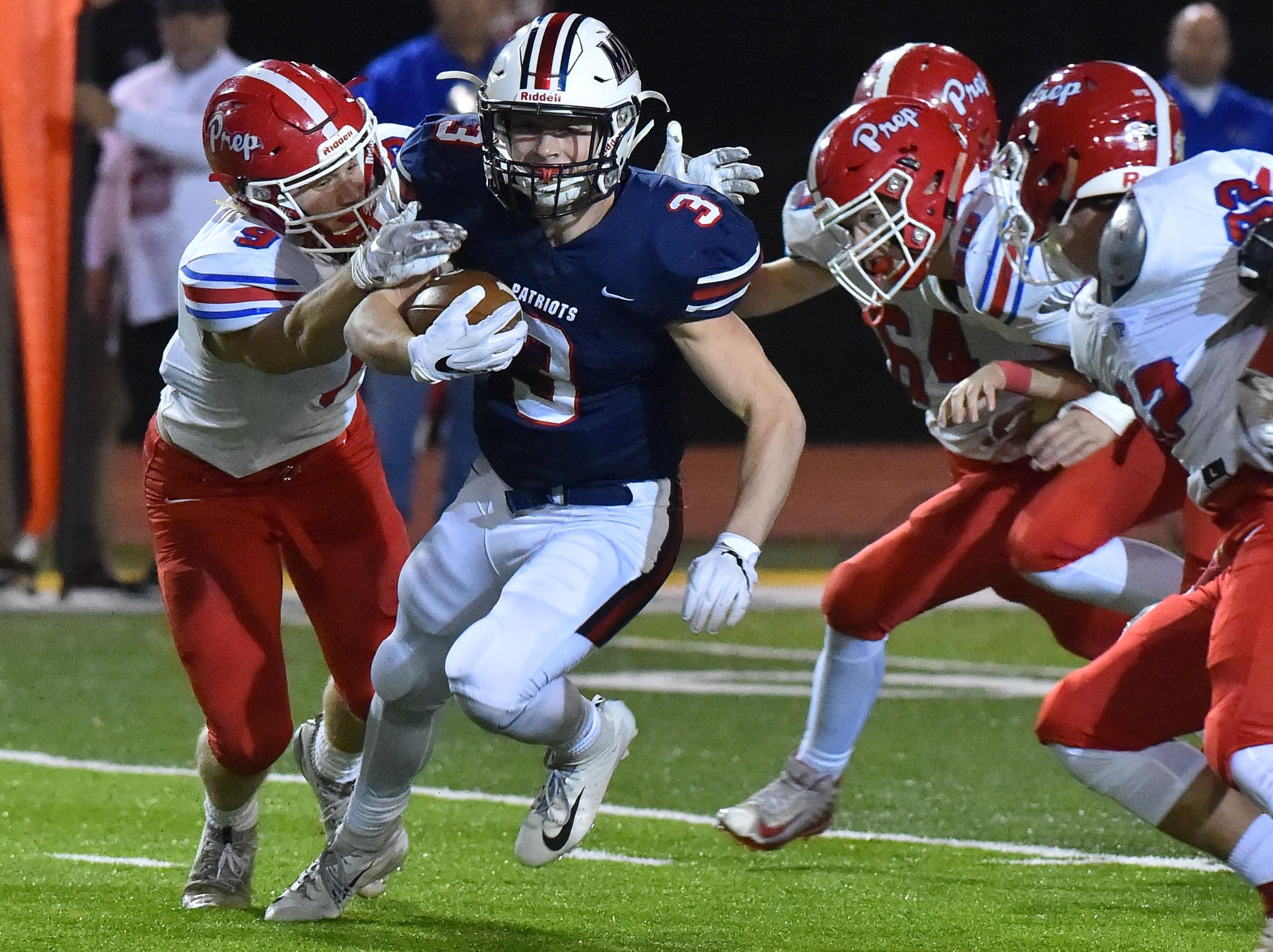 Madison Ridgeland Academy's William Milam (3) runs the ball against Jackson Prep during the MAIS Class AAAA Championship Football game held at Jackson Academy in Jackson, MS, Thursday November 16, 2018.(Bob Smith-For The Clarion Ledger)