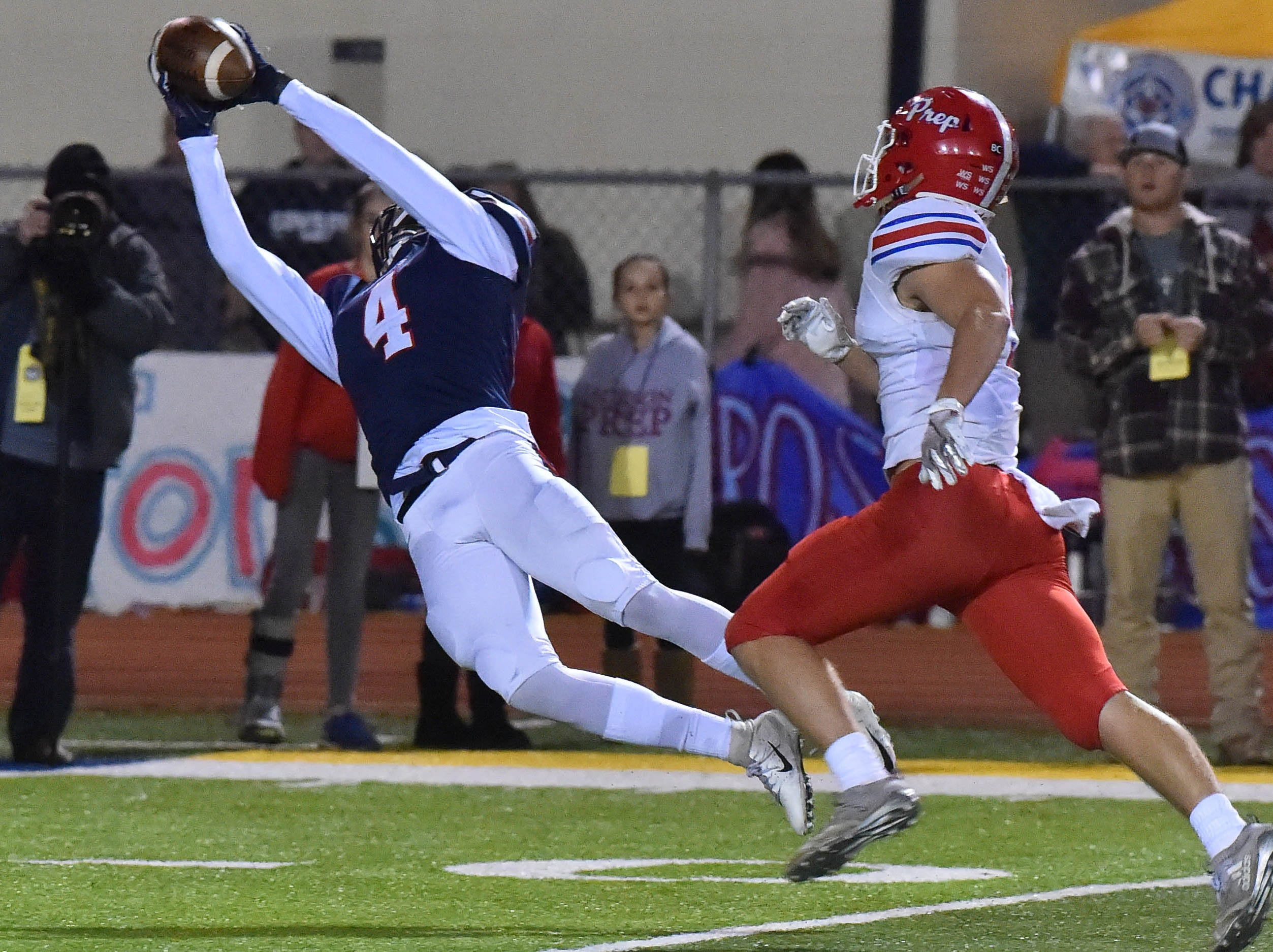 Madison Ridgeland Academy receiver Joseph Perkins (4) makes a catch against Jackson Prep during the MAIS Class AAAA Championship Football game held at Jackson Academy in Jackson, MS, Thursday November 16, 2018.(Bob Smith-For The Clarion Ledger)