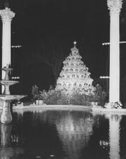 This 1955 photo shows the singing Christmas tree when it was located near a fountain on Belhaven University's campus.