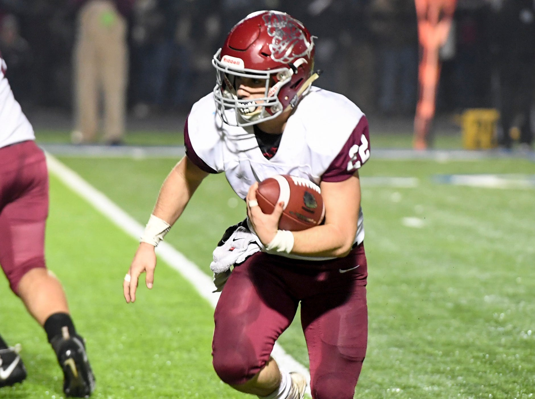 Cornersville's Eli Woodard looks for opening to run the ball during their TSSAA Class A quarter final game against Huntingdon, Friday, November 16. Huntingdon fell to Cornersville, 13-7.