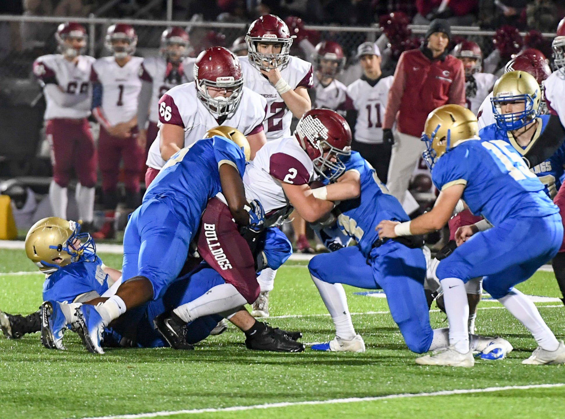 Cornersville's Trenten Warren is stopped by Huntingdon defenders during their TSSAA Class A quarter final game, Friday, November 16. Huntingdon fell to Cornersville, 13-7.