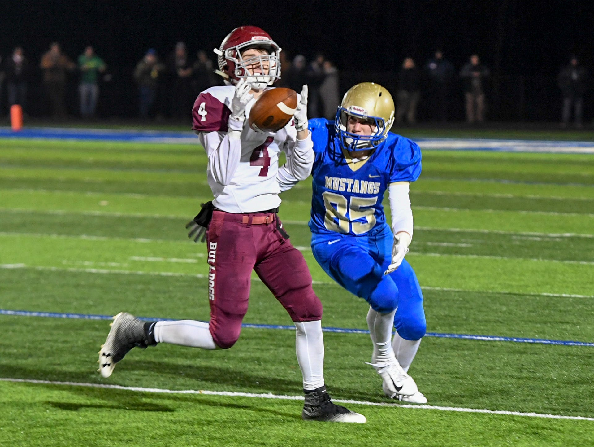 Cornersville's Ryan Prosser almost intercepts the ball from Huntingdon's Aden Hutcherson during their TSSAA Class A quarter final game, Friday, November 16. Huntingdon fell to Cornersville, 13-7.