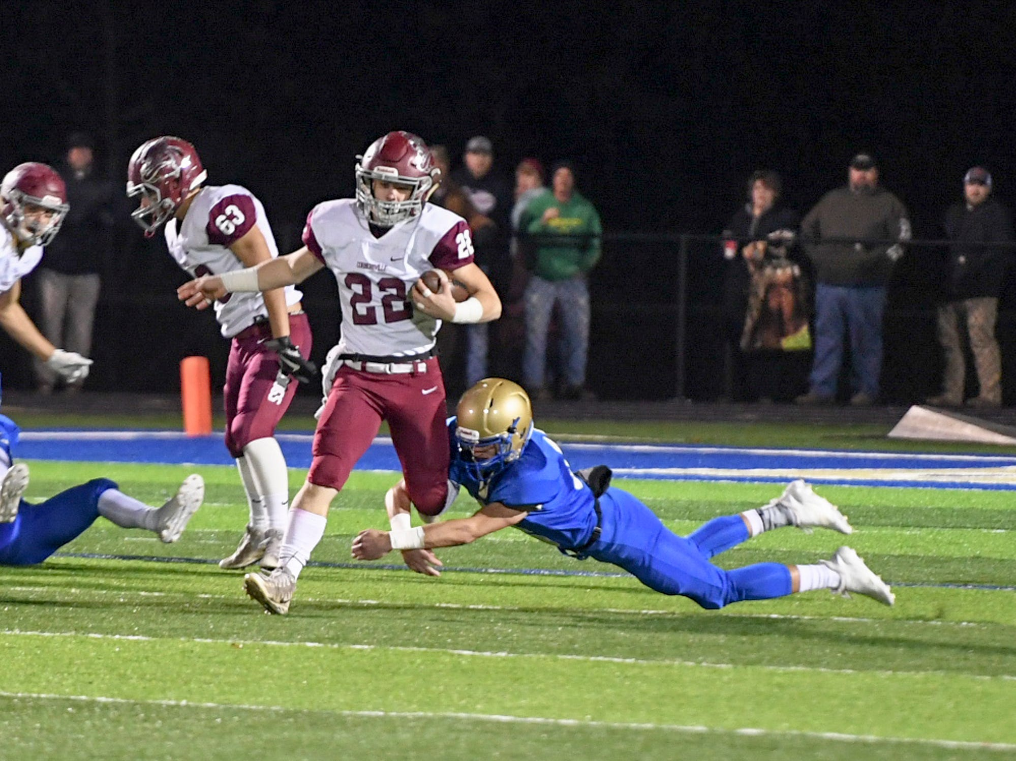 Cornersville's Eli Woodard is tripped up by Huntingdon's Kelby Pearson during their TSSAA Class A quarter final game, Friday, November 16. Huntingdon fell to Cornersville, 13-7.