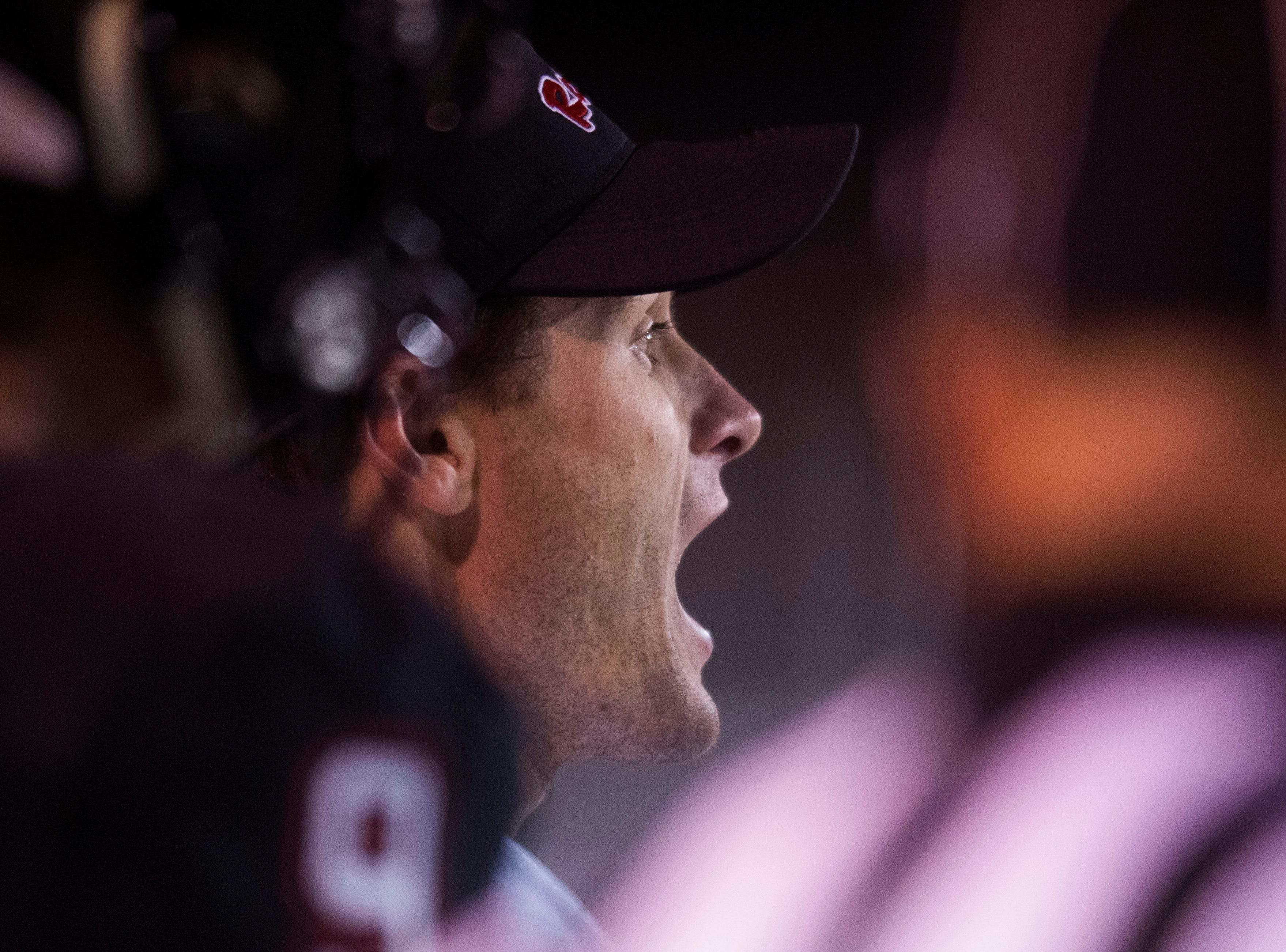 Maryville Head Coach Derek Hunt yells from the sidelines during a 6A quarterfinal game between Maryville and Farragut at Maryville Friday, Nov. 16, 2018. Maryville defeated Farragut 26-10.