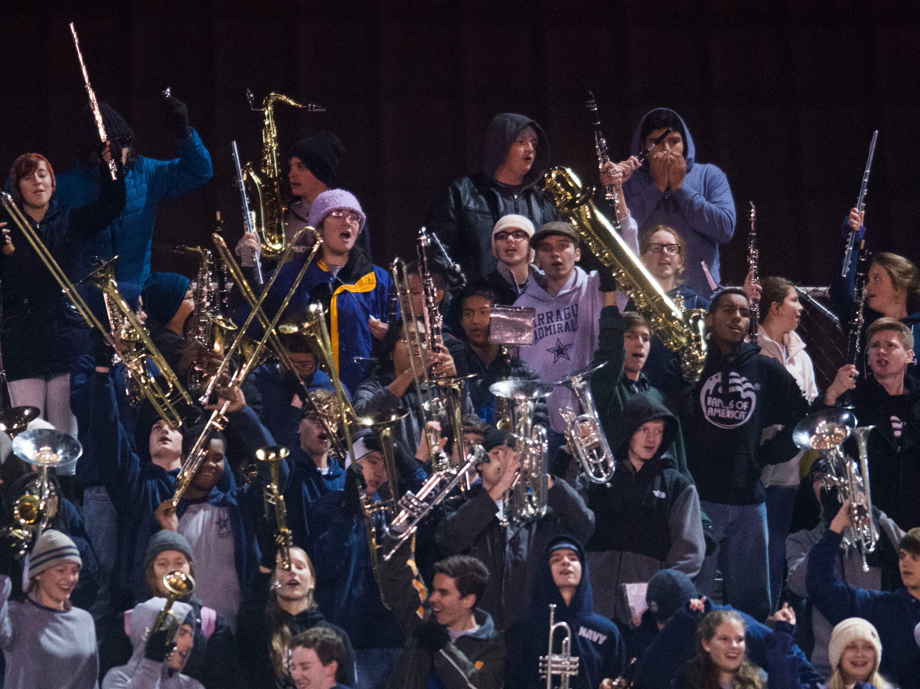 Farragut's band cheers during a 6A quarterfinal game between Maryville and Farragut at Maryville Friday, Nov. 16, 2018. Maryville defeated Farragut 26-10.