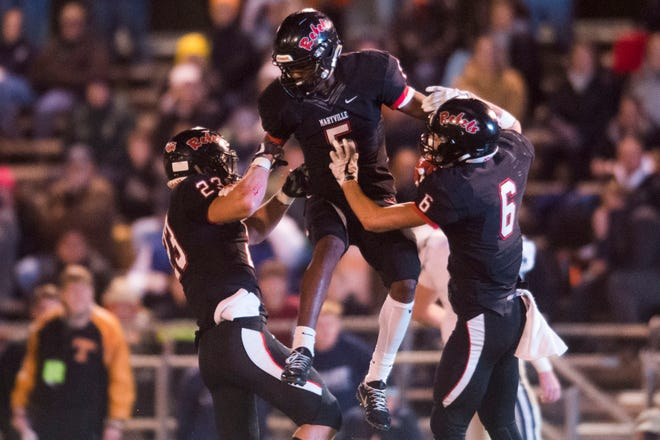 Maryville's DaVon Kimble (5) celebrates his interception during a 6A quarterfinal game between Maryville and Farragut at Maryville Friday, Nov. 16, 2018. Maryville defeated Farragut 26-10.