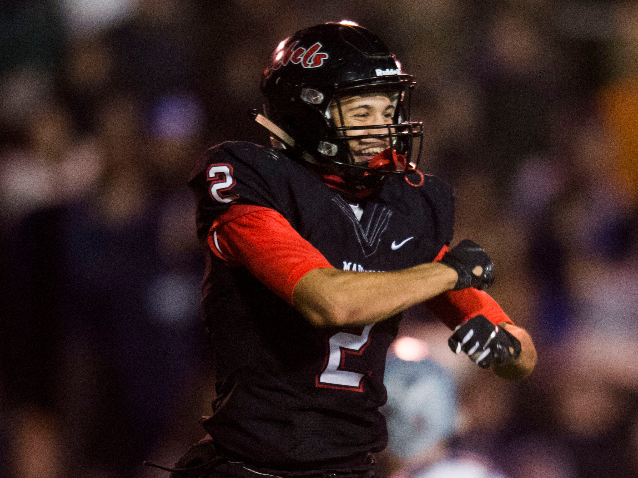 Maryville's Ashton Maples (2) celebrates a touchdown during a 6A quarterfinal game between Maryville and Farragut at Maryville Friday, Nov. 16, 2018. Maryville defeated Farragut 26-10.