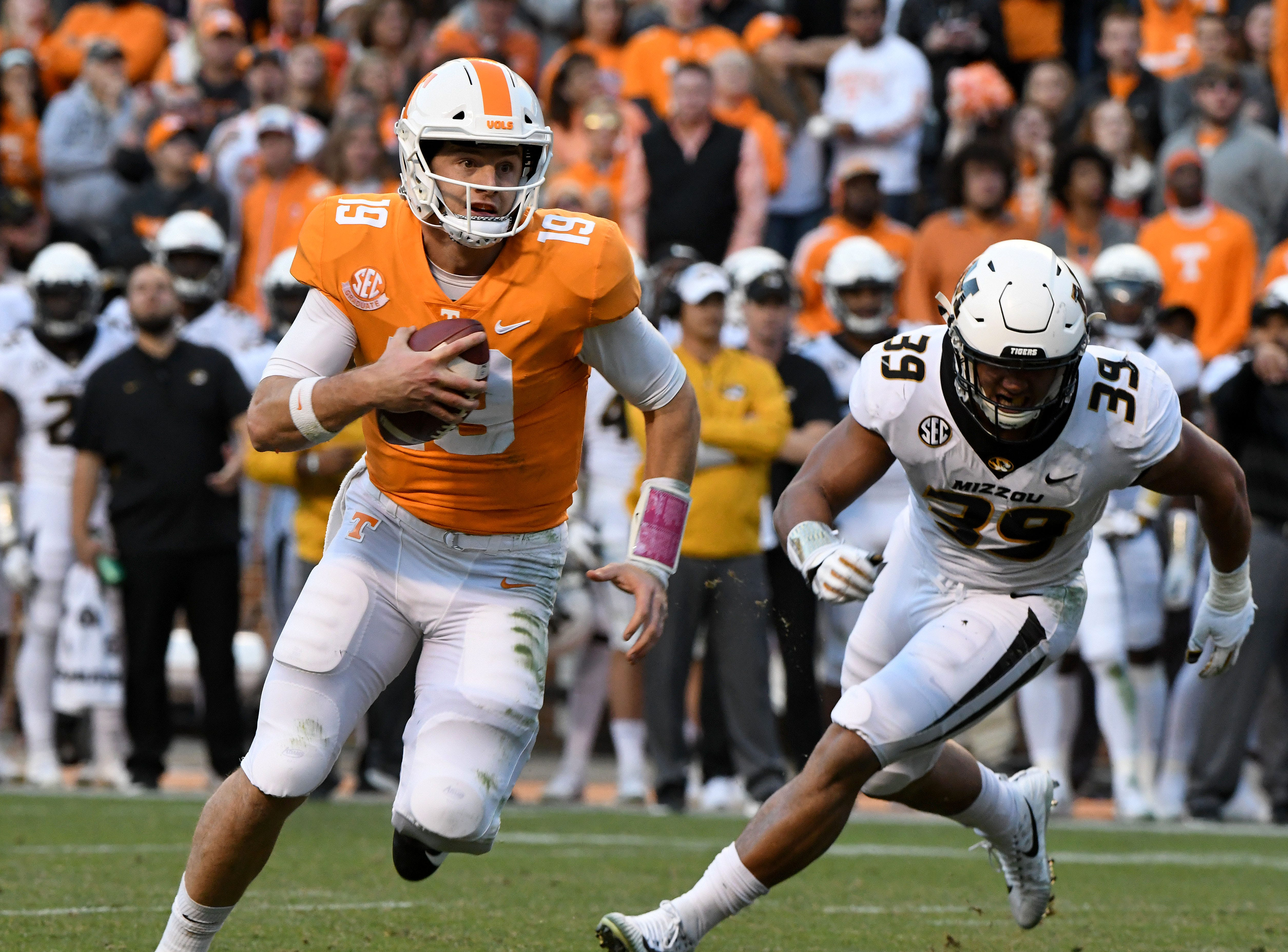 Tennessee quarterback Keller Chryst (19) during first half action against Missouri Saturday, Nov. 17, 2018 at Neyland Stadium in Knoxville, Tenn.