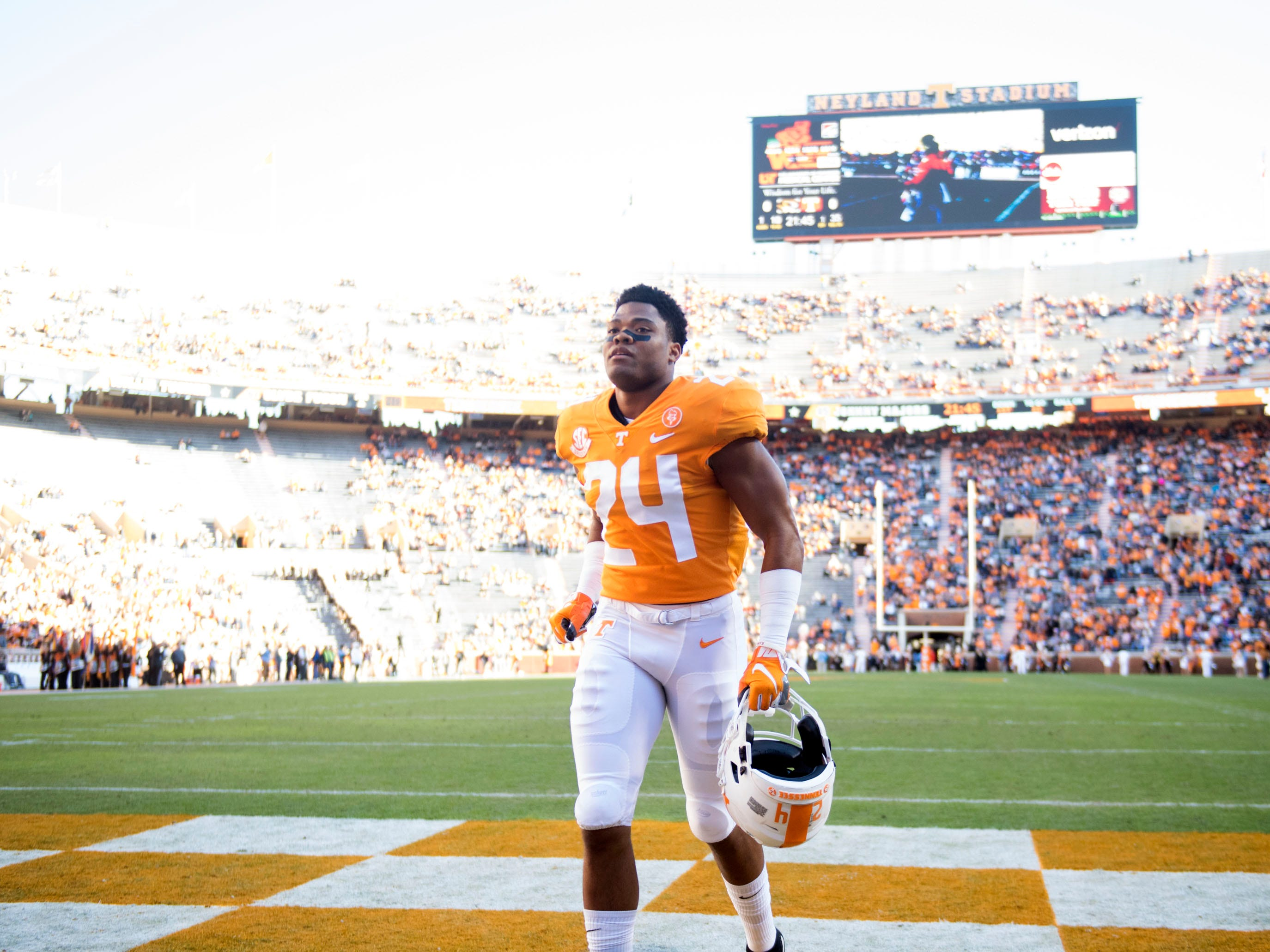 Tennessee defensive back Todd Kelly Jr. (24)  warmjping. up before game against Missouri on Saturday, November 17, 2018.