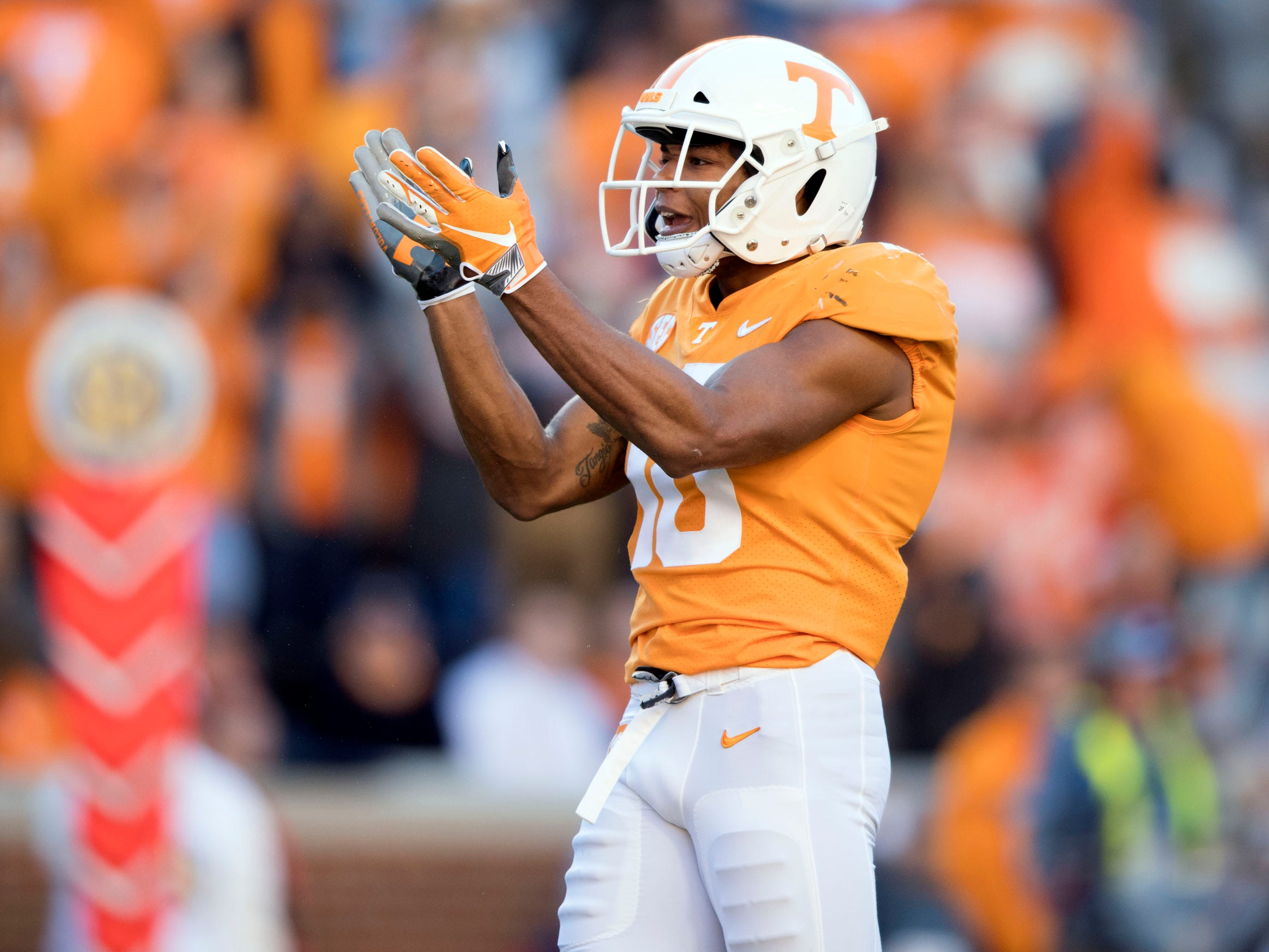 Tennessee defensive back Nigel Warrior (18)  celebrates after a defensive stop against Missouri during the Tennessee and Missouri football game on Saturday, November 17, 2018.