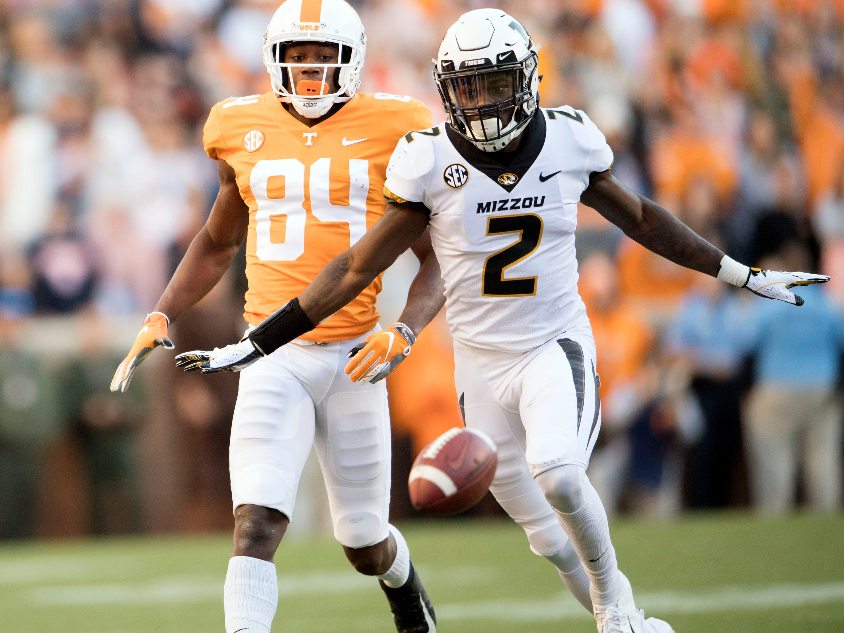 A pass misses Tennessee wide receiver Josh Palmer (84) while he was defended by Missouri defensive back DeMarkus Acy (2) during the Tennessee and Missouri football game on Saturday, November 17, 2018.